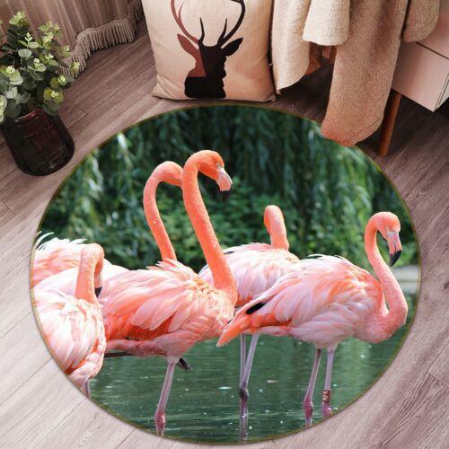 Details about  /3D Pink Flamingo Parlor N282 Animal Non Slip Rug Mat Round Elegant Carpet Amy
