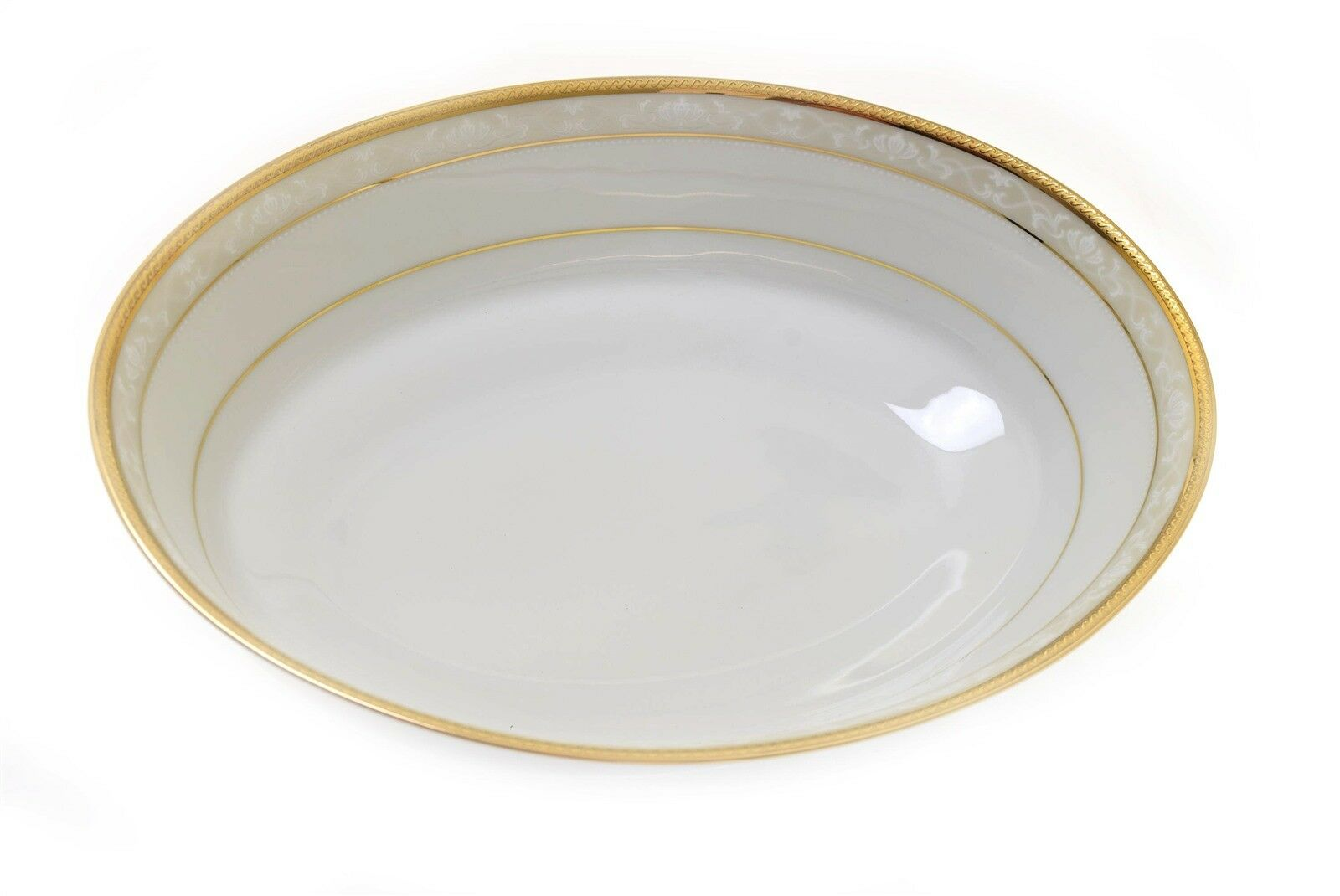 Noritake 4335 Hampshire Gold 9 5 8  x 7 1 4  Oval Serving Bowl - New