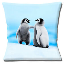 """Cute Baby Penguins 16""""x16"""" 40cm Cushion Cover Two Fluffy Young King Penguin Blue"""