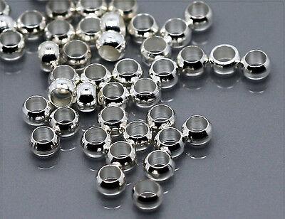 100x Quetschperlen Crimps 3mm silber sz401