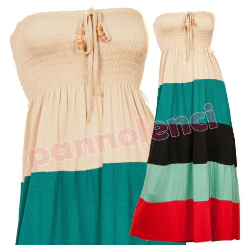 Abito lungo vestito donna maxidress RIGHE MULTICOLOR copricostume mare AS-8265
