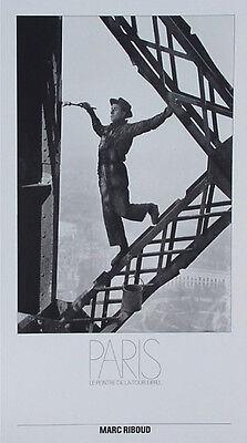 Marc Riboud•Painter on Eiffel Tower Paris•Rare Poster 16x28 Vintage