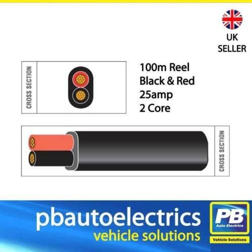 100m noir /& rouge paroi mince 25 amp 2 noyau auto câble plate double TW02//02 noir