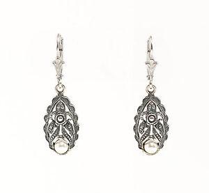 925-Argent-Boucles-d-039-oreilles-Art-nouveau-avec-synthetique-Perle-a6-01475