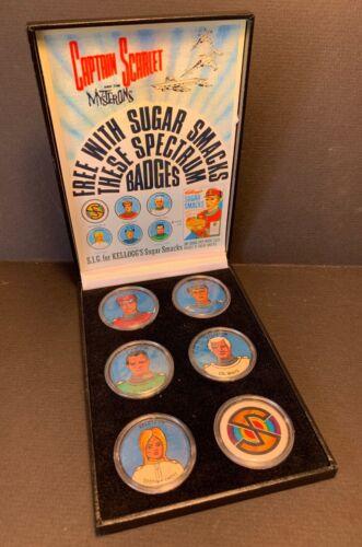 Original CAPTAIN SCARLET Kelloggs Sugar Smacks Badge Set in Display Box /& Advert