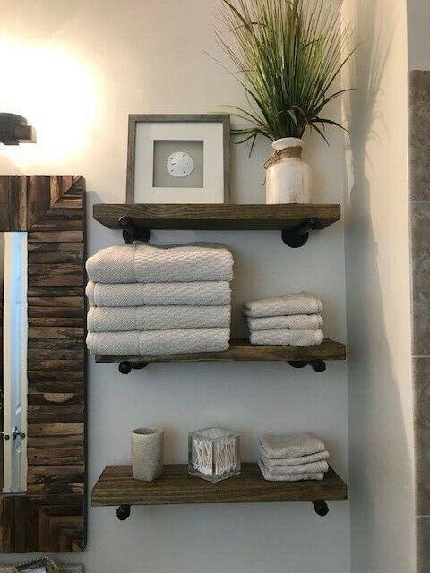 """8/"""" Deep Industrial Floating Shelves w//Towel Bar Rustic Industrial 2 Shelves"""