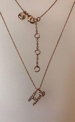"""Z para personalizar 16/"""" Diamanté Chapado en Oro Rosa inicial H colgante collar A271"""