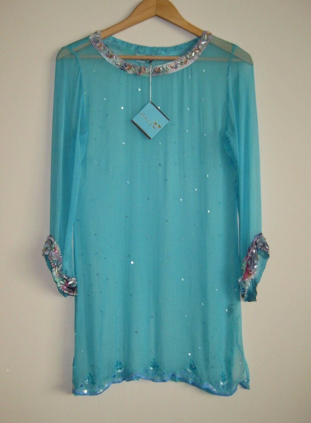 LETARTE Aqua Beaded Long Sleeve Silk Top Tunic Cover Up Size S NWT  288