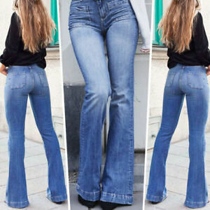 Women-Stretchy-High-Waist-Denim-Jeans-Flare-Elastic-Trouser-Slim-Fit-Long-Pants