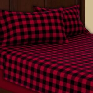 c322e604eeb00 Full Flannel Red Black Plaid Check Double Brushed Sheet Set Bedding ...