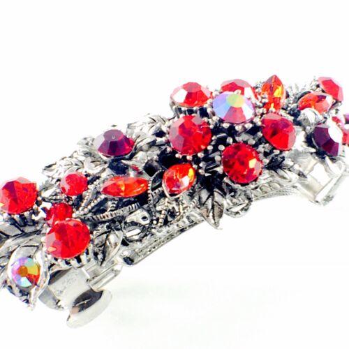 USA Vintage BARRETTE Rhinestone Crystal Hair Clip Hairpin Elegant RED 5/_20
