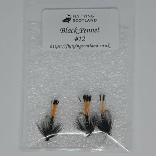3 X Black Pennell Wet Trout Flies Sizes 10,12,14 Fishing Flies