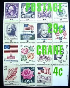 Crane-paper-letterhead-promo-enlarged-samples-US-Postage-stamps-from-1917-1991
