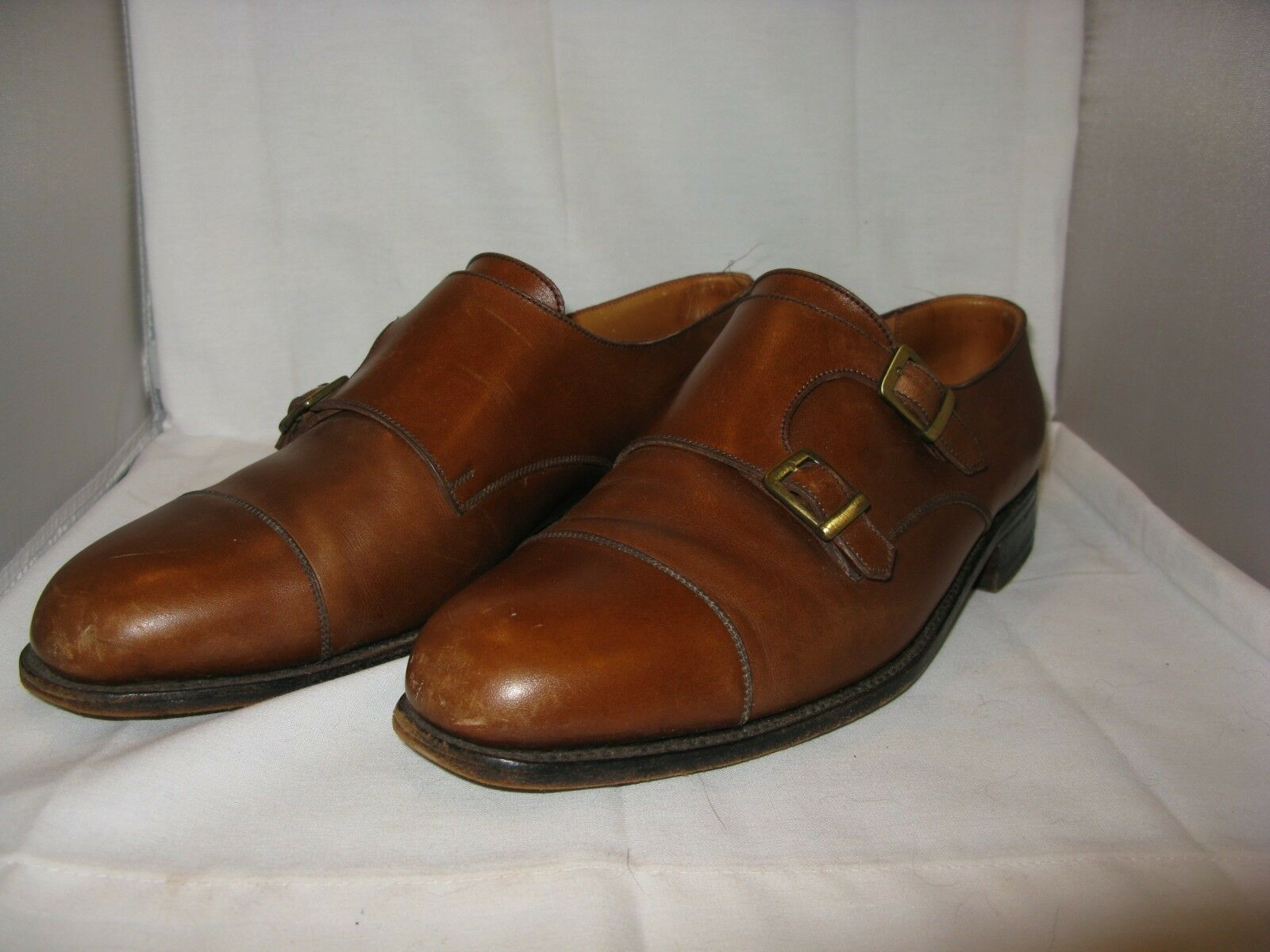 J.M.WESTON BROWN LEATHER DOUBLE BUCKLE DRESS SHOES 8 1/2 D