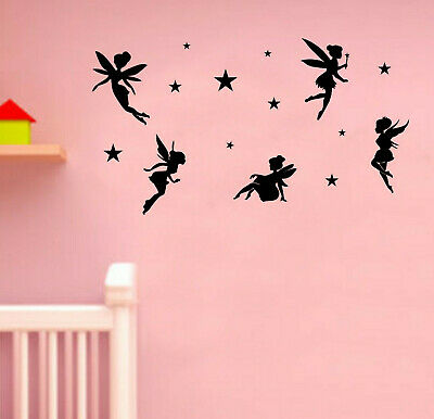 Fairy hearts wall sticker Personalised any name girls wall art vinyl art3 DECOR