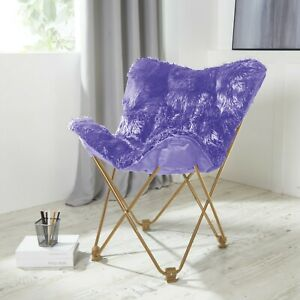 Details about Comfy LAVENDER Faux Fur Butterfly Folding Chair Seat Teen  Dorm Bedroom Furnitur