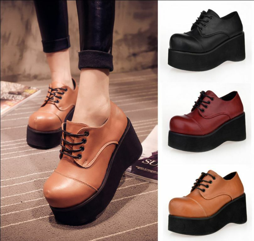 Women's High Platform Lace Up Round Toe Creepers Lace Up Heels shoes Leather New
