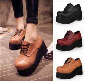 ba9a7f4823ec Women s High Platform Lace Up Round Toe Creepers Lace Up Heels Shoes ...