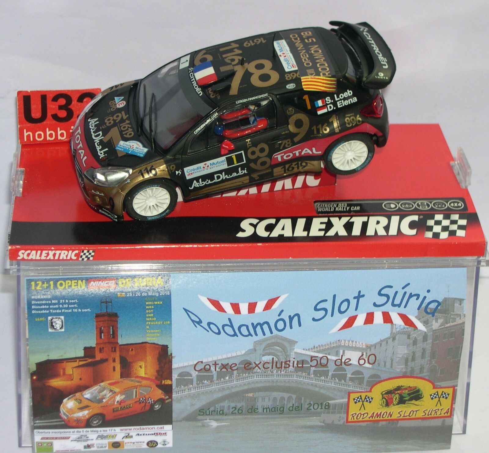 SCALEXTRIC CITROEN DS3 WRC 12+1 OPEN SURIA RODAMON SLOT 2018 OFF. DRIVERS