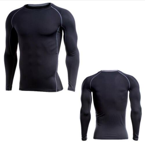 Men Compression Fitness Apparel Thermal Base Workout Running Yoga Sports Tops