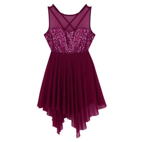 Womens Lyrical Ballet Dance Costume Adult Leotard Dress Sequins Girl Tulle Skirt