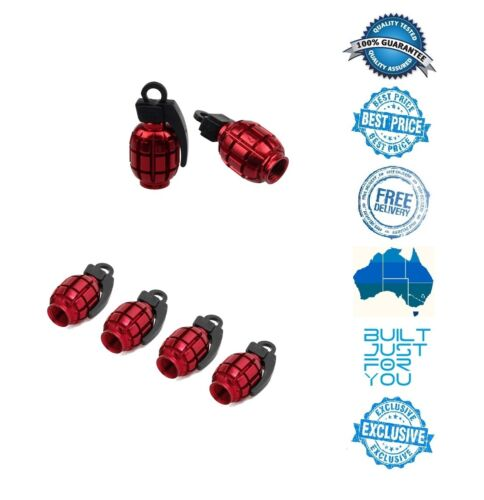 RED 4 x Grenade Car Truck Bike Tyre Tire Valve Stem Caps Covers Accessories &E