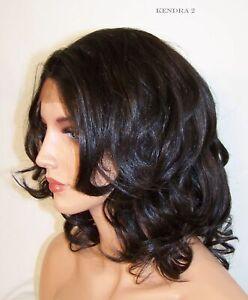 2 Darkest Brown Medium Layered Lace Front Wig Heat Safe Body Wave Curls Usa Ken Ebay