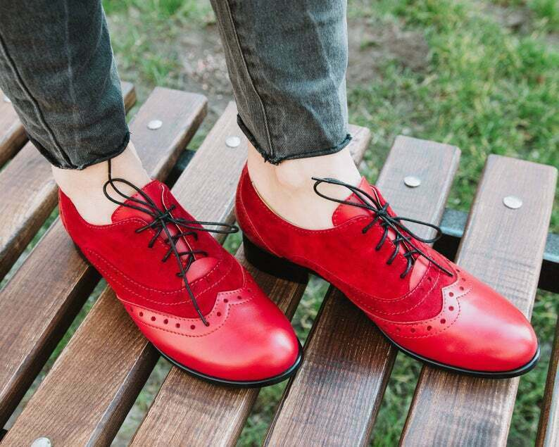 Handmade Women's Genuine Rose Red Leather / Suede Wingtip Lace Up Shoes