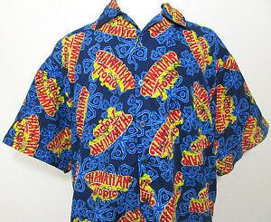 Hawaiian-Tropic-Hawaiian-Shirt-Mens-2XL-Short-Sleeve-Suntan-Lotion-Pool-Party