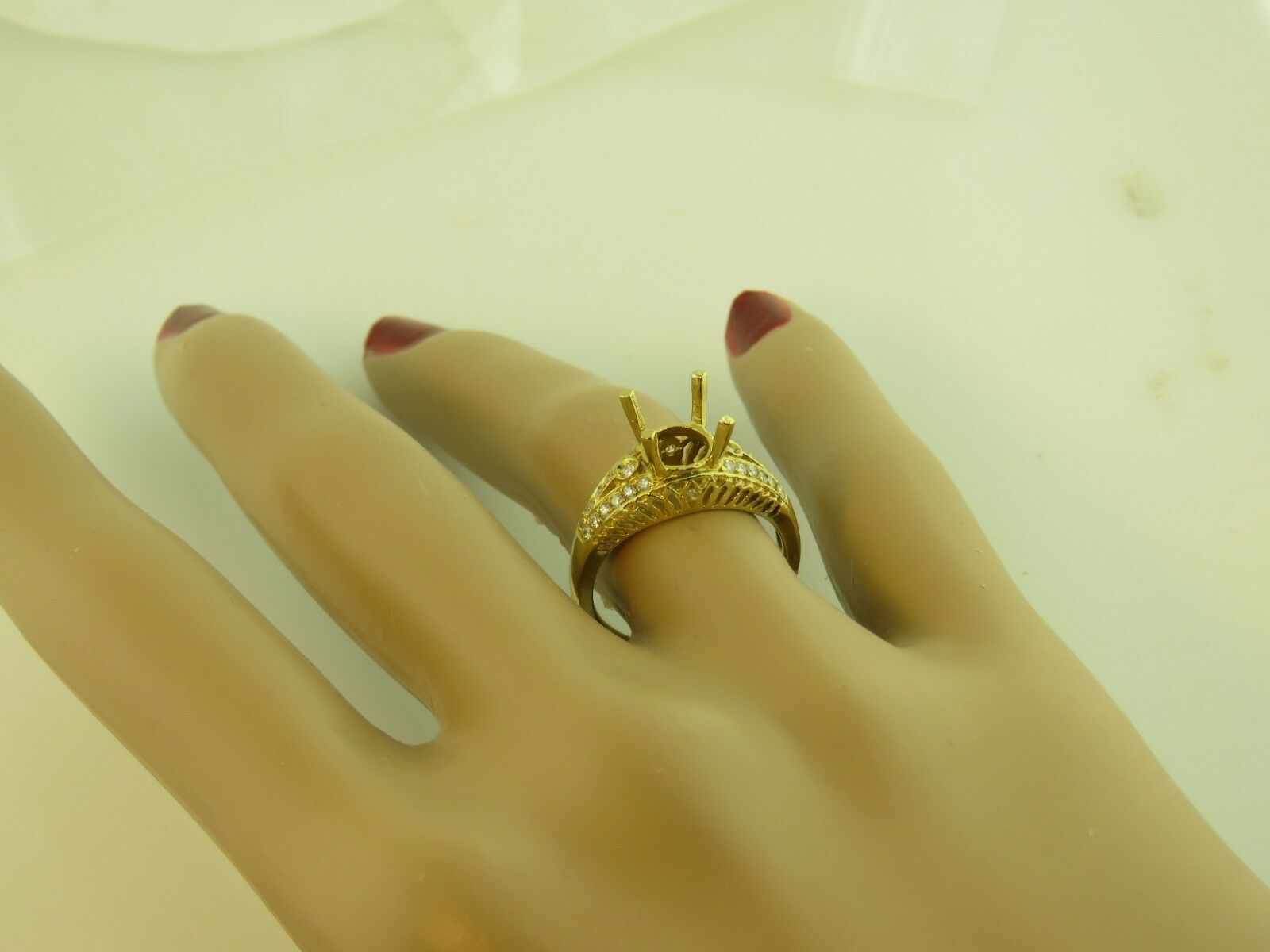 1 4CT DIAMOND SEMI MOUNT RING 14K YELLOW gold FOR 2CT ROUND CENTER STONE