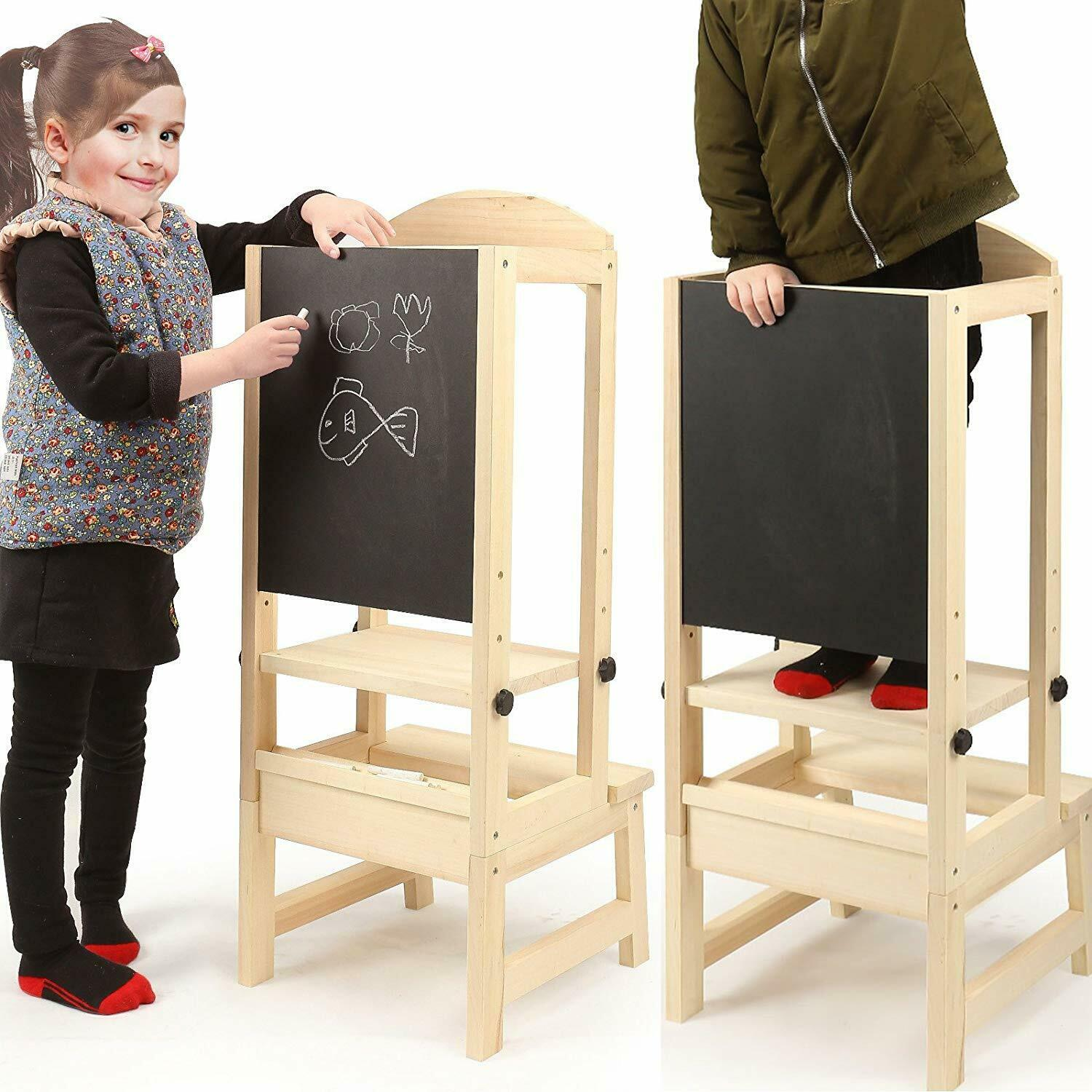 Details About Kids Learning Stool Kitchen Step Stool Helper Safety With Chalkboard Whiteboard