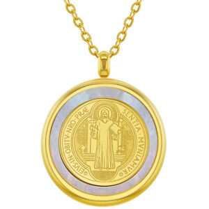 """Stainless Steel Saint Benedict Protection Catholic Medal Pendant Necklace 19"""""""