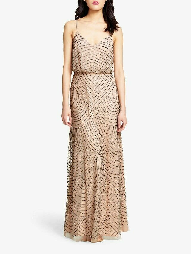 Adrianna Papell Beaded Bridemaids Evening Long Prom Dress Taupe/Pink UK14 US10