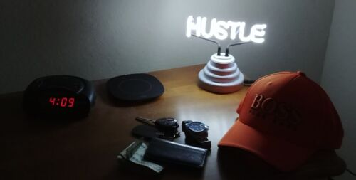 REAL NEON Motivational Entrepreneur HUSTLE Small Table Desktop Light Sculpture