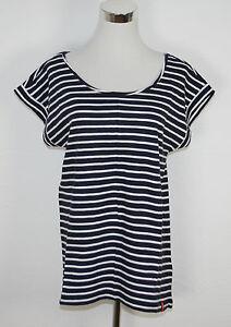 Details zu EDC by ESPRIT T Shirt Baumwolle marine blau weiß gestreift Gr. M NEU