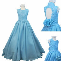 Girl National Glitz Pageant Wedding Party Formal Dress Blue Sz:3,4,5,6,7,8,12,14