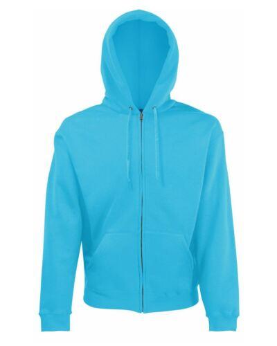 Men/'s Plain Full zipped hoodie Fruit Of The Loom Classic Hooded Sweat Jacket
