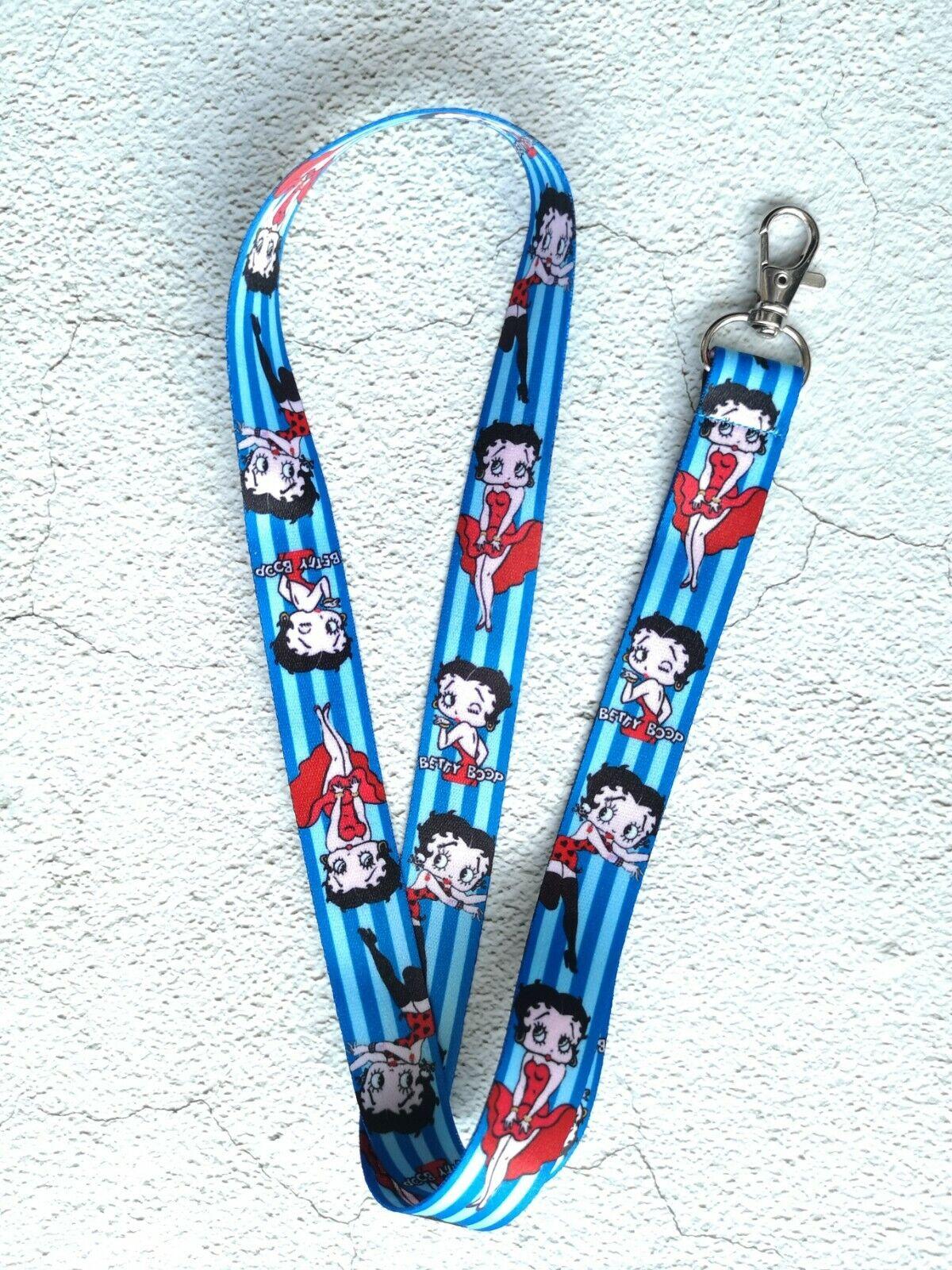 Gastos de Envío Gratis Nuevo Betty Boop Lindo Azul Blanco Y Rojo Retro cordón para tarjeta de identificación