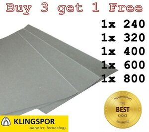 WET-AND-DRY-SANDPAPER-KLINGSPOR-Assorted-grit-240-320-400-600-800-PACK-OF-5