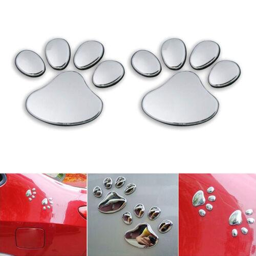 2PCS 3D Car Silver Window Bumper Body Decal Sticker Bear Cat Dog Paw Foot Prints
