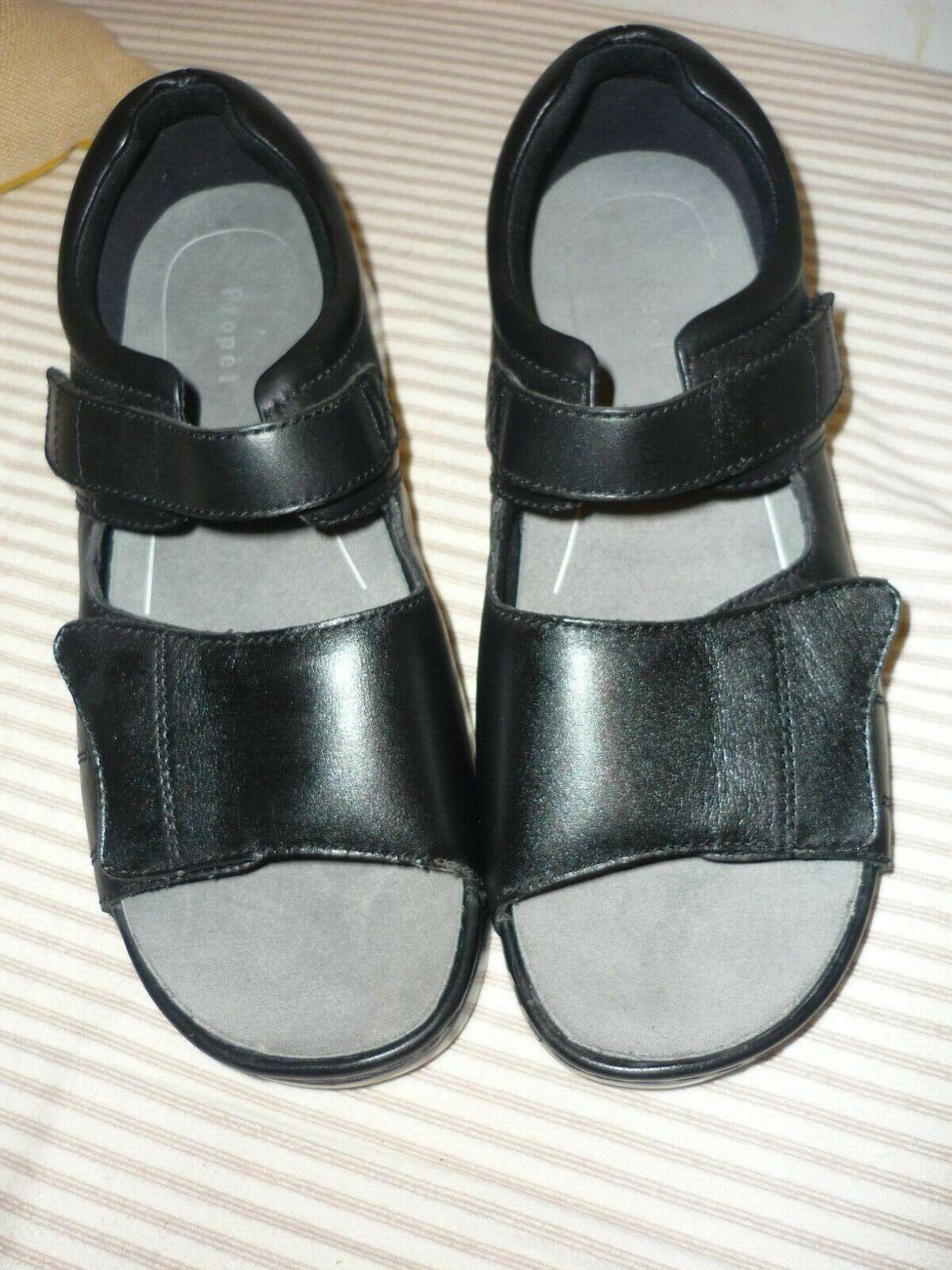 Femmes Propet Cuir noir Sandales chaussures Nouveau bretelles réglables Sz Large 11