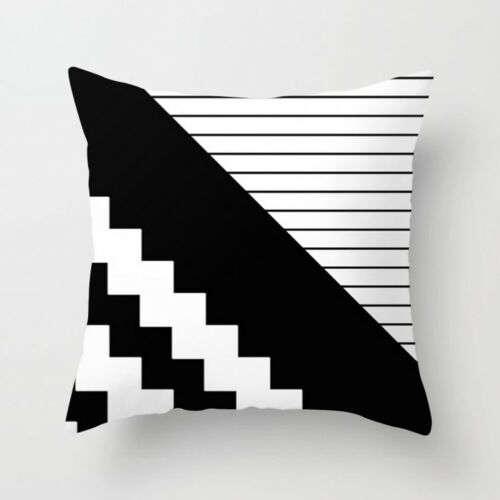Pillow Case 18/'/' Geometric Cushion Cover Black And White Polyester Throw Square