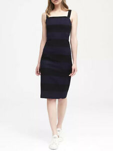 NWT-Banana-Republic-128-Stripe-Square-Neck-Bi-Stretch-Sheath-Dress-0-2-4-6-8-14