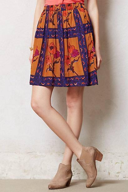 Anthropologie Persicum Skirt M  128 Maeve beaded detail poppy colorful new