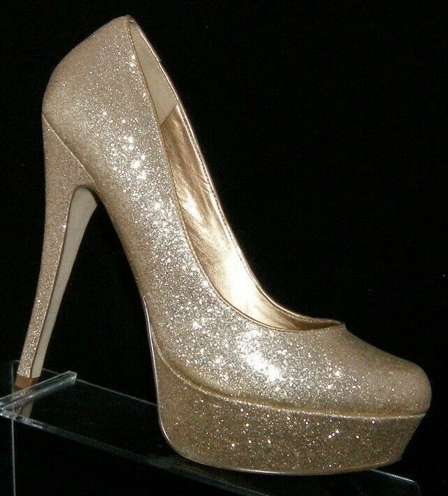ALDO 'Cape Coral' gold glitter sparkle round toe slip on platform heels 8 EU 38