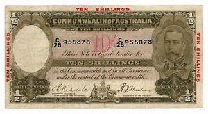 Australia-10-Shillings-ND-1934-Riddle-Sheehan-R-10-Fine-Note-RARE-George-V