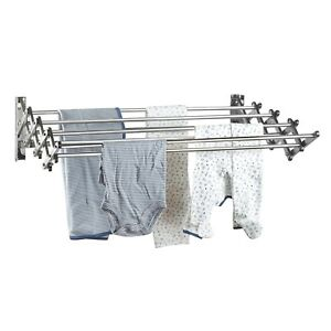 Stainless Steel Wall Mount Laundry Drying Rack Retractable Fold