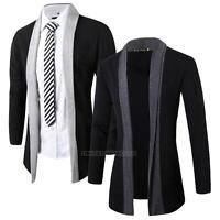 Men Knitted Wool Cardigan Jumper Jacket Slim Fit Long Sleeve Casual Sweater Coat