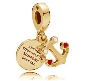New-Genuine-PANDORA-Anchor-of-Love-Pendant-Charm-14K-Gold-Vermeil-797208ENMX