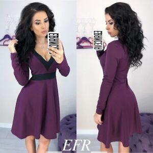 finest selection 7320d 11d30 Dettagli su Vestito donna blu verde bianco viola corto sexy scollatura moda  2019 primavera